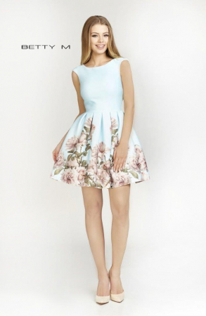 Rochie Betty M Southern Sky bleu cu flori scurta de vara baby doll1