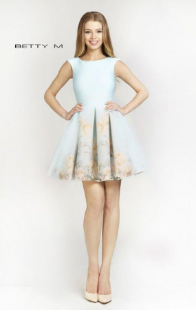 Rochie Betty M Southern Sky bleu cu flori galbene scurta de vara baby doll0