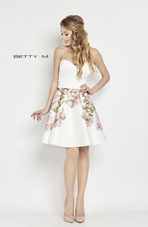 Rochie Betty M Tweet alba cu flori scurta de vara baby doll0