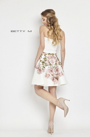 Rochie Betty M Tweet alba cu flori scurta de vara baby doll2