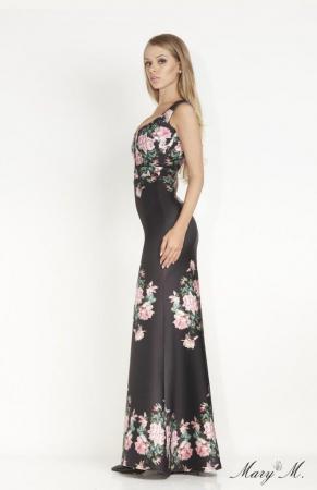 Rochie Betty M Venice neagra cu flori lunga de seara tip sirena2