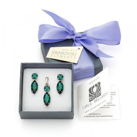 Set cadou cristale Swarovski Nicole Emerald0