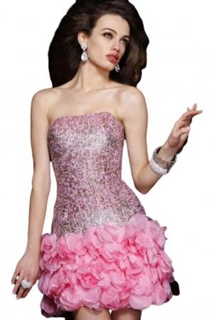 Rochie Sherri Hill 8430 roz scurta de ocazie mulata din matase0