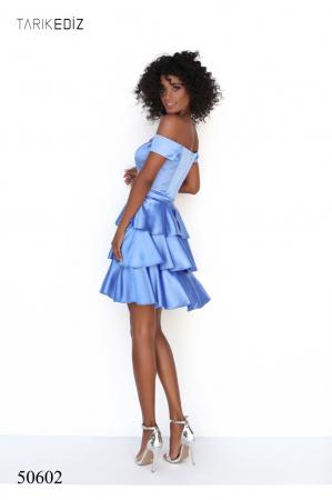 Rochie Tarik Ediz 50602 bleu scurta de ocazie baby doll din satin [2]