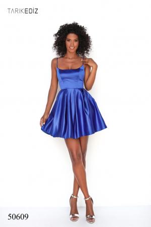 Rochie Tarik Ediz 50609 albastra scurta de ocazie baby doll din satin [0]