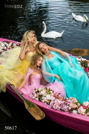 Rochie Tarik Ediz 50617 roz lunga de seara clos din voal4