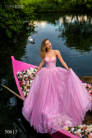 Rochie Tarik Ediz 50617 roz lunga de seara clos din voal0