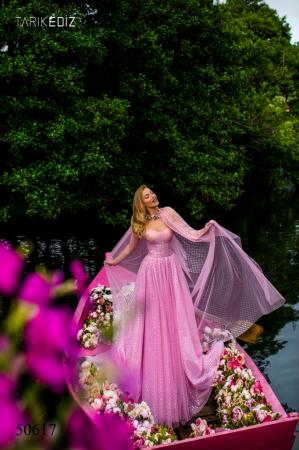 Rochie Tarik Ediz 50617 roz lunga de seara clos din voal1