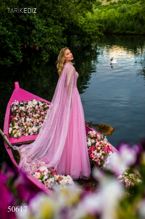 Rochie Tarik Ediz 50617 roz lunga de seara clos din voal2