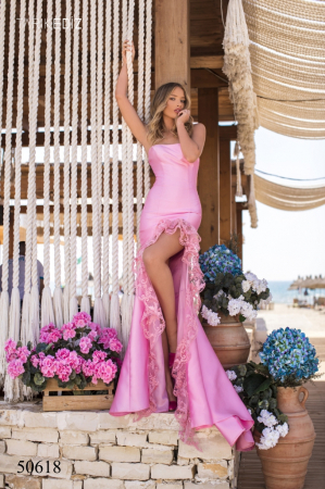 Rochie Tarik Ediz 50618 roz lunga de seara sirena din taffeta [0]