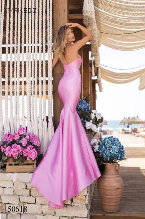 Rochie Tarik Ediz 50618 roz lunga de seara sirena din taffeta [1]