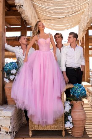 Rochie Tarik Ediz 50619 roz lunga de seara princess din tulle [0]
