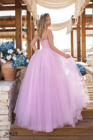Rochie Tarik Ediz 50619 roz lunga de seara princess din tulle [2]
