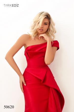 Rochie Tarik Ediz 50620 rosie lunga de seara sirena din taffeta1