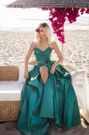 Rochie Tarik Ediz 50633 verde lunga de seara princess din taffeta1