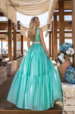 Rochie Tarik Ediz 50642 verde lunga de seara princess din organza2