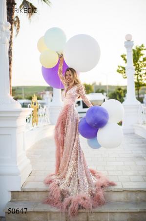 Rochie Tarik Ediz 50647 roz lunga de lux clos din paiete0