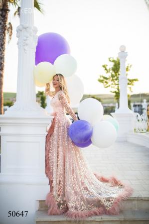 Rochie Tarik Ediz 50647 roz lunga de lux clos din paiete2