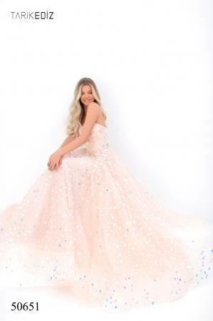 Rochie Tarik Ediz 50651 roz lunga de seara princess din tulle3