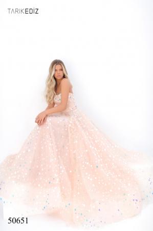 Rochie Tarik Ediz 50651 roz lunga de seara princess din tulle4