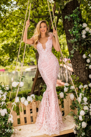Rochie Tarik Ediz 50652 roz lunga de lux sirena din broderie0
