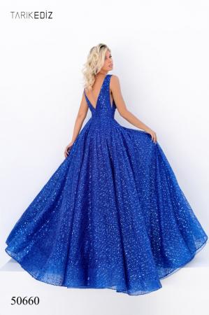Rochie Tarik Ediz 50660 albastra lunga de seara princess din paiete1