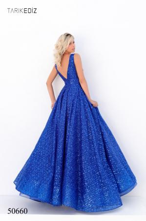 Rochie Tarik Ediz 50660 albastra lunga de seara princess din paiete2