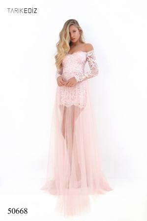 Rochie Tarik Ediz 50668 roz lunga de seara clos din tulle [0]