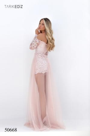 Rochie Tarik Ediz 50668 roz lunga de seara clos din tulle [2]