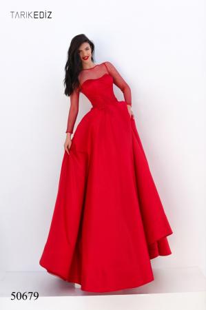 Rochie Tarik Ediz 50679 rosie lunga de seara princess din satin [2]