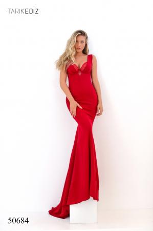 Rochie Tarik Ediz 50684 rosie lunga de seara sirena din milly [0]