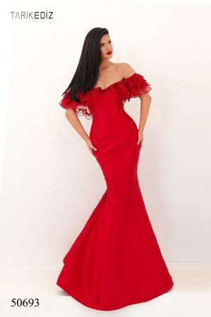 Rochie Tarik Ediz 50693 rosie lunga de seara sirena din taffeta [0]