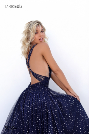 Rochie Tarik Ediz 50694 bleumarin lunga de seara princess din tulle3
