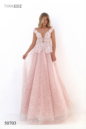 Rochie Tarik Ediz 50703 roz lunga de seara princess din tulle0