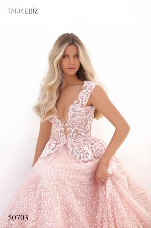 Rochie Tarik Ediz 50703 roz lunga de seara princess din tulle [2]