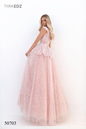 Rochie Tarik Ediz 50703 roz lunga de seara princess din tulle3