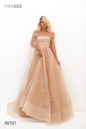 Rochie Tarik Ediz 50707 bej lunga de seara princess din paiete0