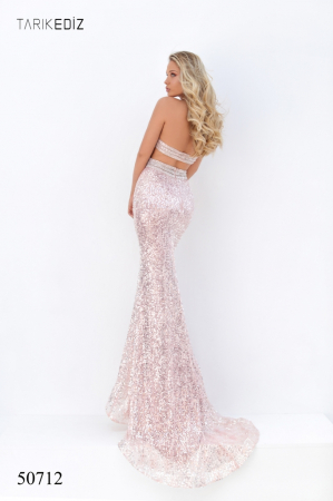 Rochie Tarik Ediz 50712 roz lunga de seara sirena din paiete1
