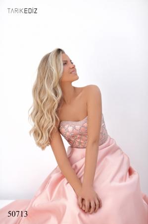 Rochie Tarik Ediz 50713 roz lunga de seara princess din satin [3]