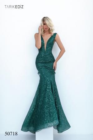 Rochie Tarik Ediz 50718 verde lunga de seara sirena din paiete [0]