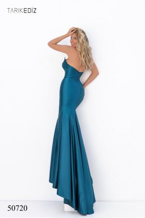 Rochie Tarik Ediz 50720 albastra lunga de seara sirena din satin [1]