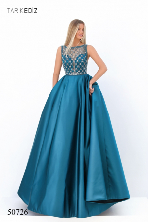 Rochie Tarik Ediz 50726 albastra lunga de seara princess din satin [0]