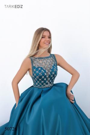 Rochie Tarik Ediz 50726 albastra lunga de seara princess din satin [2]