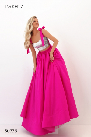 Rochie Tarik Ediz 50735 fuchsia lunga de seara princess din taffeta [0]