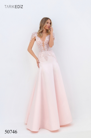 Rochie Tarik Ediz 50746 roz lunga de seara A-line din taffeta0