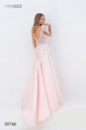 Rochie Tarik Ediz 50746 roz lunga de seara A-line din taffeta1