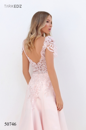 Rochie Tarik Ediz 50746 roz lunga de seara A-line din taffeta2