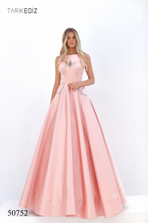 Rochie Tarik Ediz 50752 roz lunga de seara princess din satin [0]