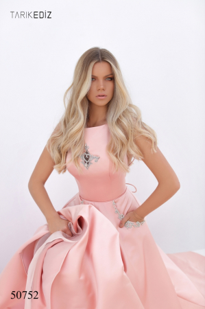 Rochie Tarik Ediz 50752 roz lunga de seara princess din satin [1]