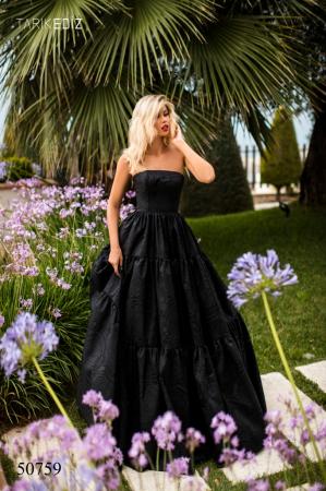 Rochie Tarik Ediz 50759 neagra lunga de seara princess din jacquard0